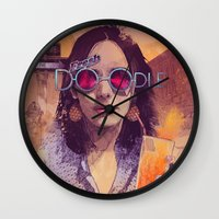 bruce springsteen Wall Clocks featuring Welcome to the Fresh Doodle by Fresh Doodle - JP Valderrama