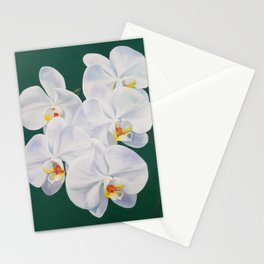 Phaelenopsis - moth orchid painting on green Stationery Cards