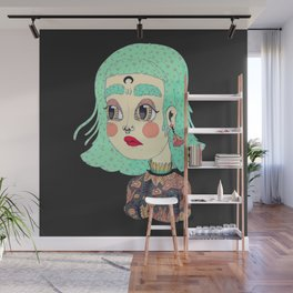 girl with a moon in her forehead Wall Mural