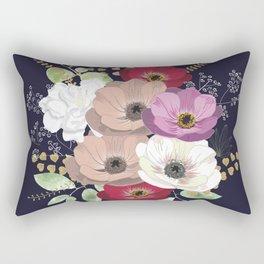 Anemones & Gardenia deep blue bouquet Rectangular Pillow