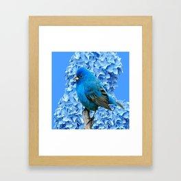 BLUE BIRD & BLUE HYDRANGEAS ART Framed Art Print