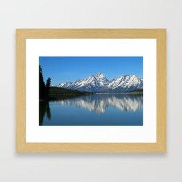 Jackson Lake and Grand Teton Refection Framed Art Print
