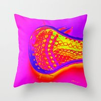 lacrosse Throw Pillows featuring PINK LACROSSE HEAD by TMCdesigns