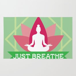 New Age Zen Yoga Lover Just Breathe Stretching Lotus Minty Rug