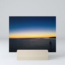 Harbor Sunset and Sailboat in the Pacific Ocean Mini Art Print