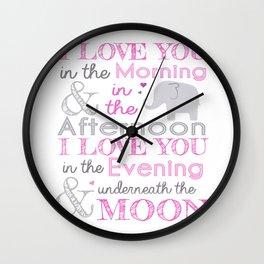 Elephant nursery print - Pink Wall Clock