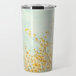 Yellow Tree Leaves Mint Sky Photography, Nature Turquoise Teal Gold Aqua Travel Mug