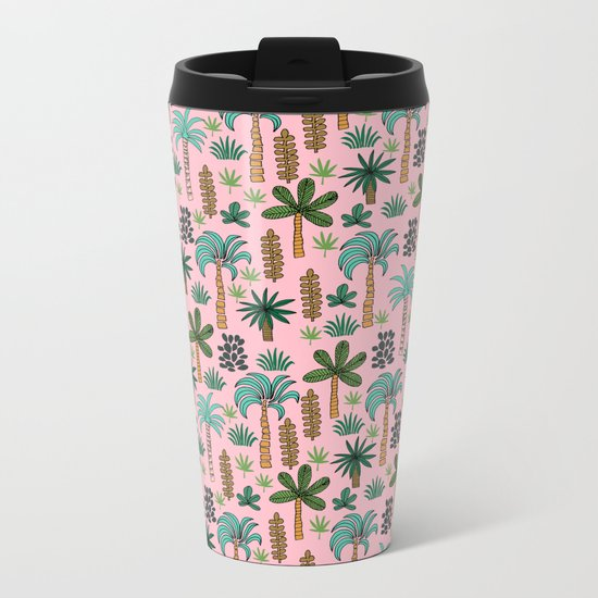 Tropics palm trees pattern print summer tropical vacation design by andrea lauren Metal Travel Mug
