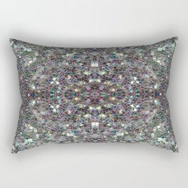 Sparkly colourful silver mosaic mandala Rectangular Pillow