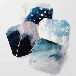 Meteor Shower - an abstract acrylic piece in blue and white Coaster