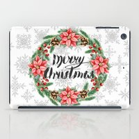 merry christmas iPad Cases featuring Merry Christmas by Julia Badeeva