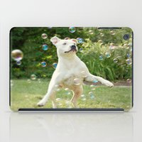 pitbull iPad Cases featuring Pitbull and Bubbles  by Laura Ruth