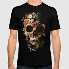 Garden Skull Light Black Mens Fitted Tee MEDIUM