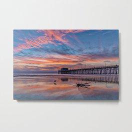 Sunset Sandpiper at Newport Pier Metal Print