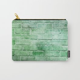 spring green distressed painted brick wall ambient decor rustic brick effect Carry-All Pouch