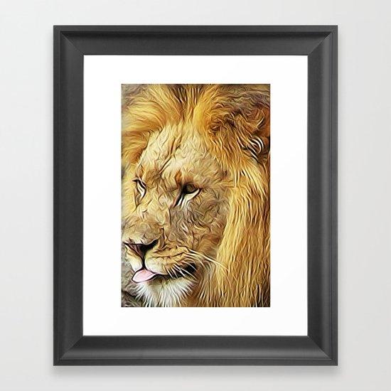 Thirsty Lion Framed Art Print