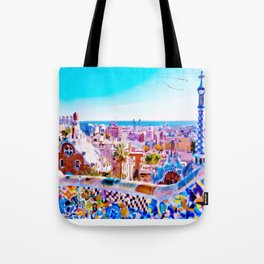 Park Guell Watercolor painting Tote Bag