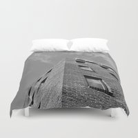 seoul Duvet Covers featuring Building in Seoul by CABINWONDERLAND