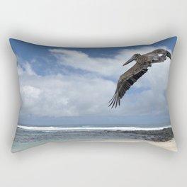 Pelican above the beach Rectangular Pillow
