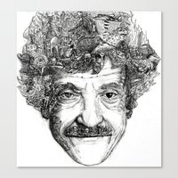 vonnegut Canvas Prints featuring Kurt Vonnegut by Kazak