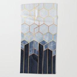Soft Blue Hexagons Beach Towel