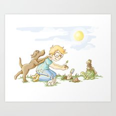 Beginning, Nature, Boy Planting A Seedling, Youth Illustration Art Print