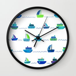 Blue Green Watercolor Boats Pattern Wall Clock