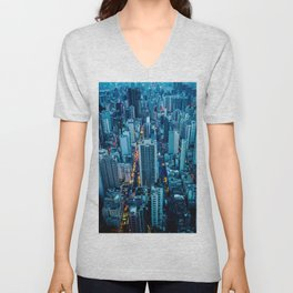 Hong Kong downtown at night Unisex V-Neck