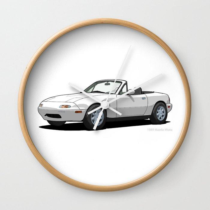 Mazda MX 5 Miata MK1 Crystal White Wall Clock