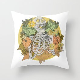 Autumn Skeleton Throw Pillow