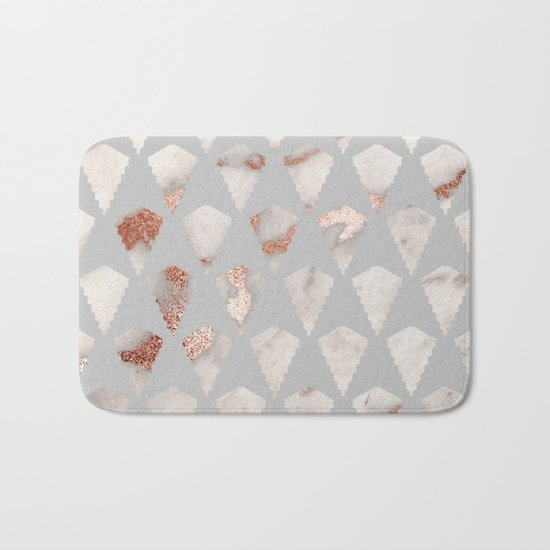 Rose gold marble pattern Bath Mat