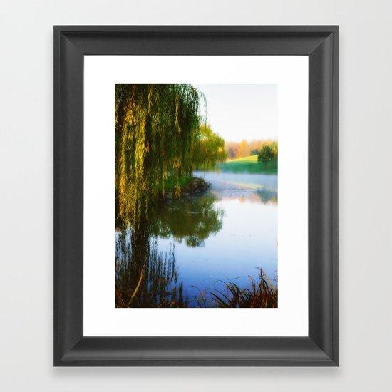 Morning mist on Schnormeier pond Framed Art Print