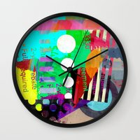 good vibes Wall Clocks featuring Good Vibes by Lynsey Ledray