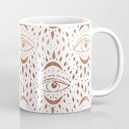 Mystic Eye - copper, rosegold, mystical art, eveil eye, eye design, linocut home dec monoo Coffee Mug