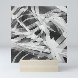 White paper stripes Mini Art Print