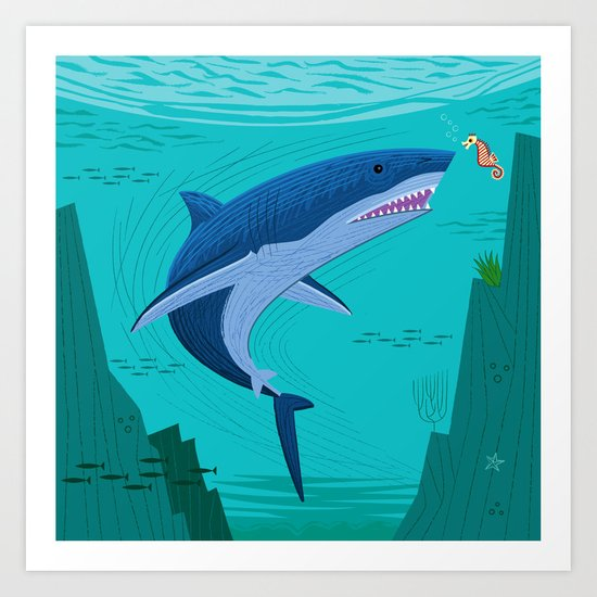 The Shark and The Seahorse  Art Print