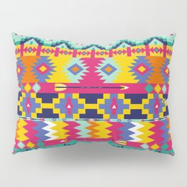 Seamless colorful aztec pattern with birds Pillow Sham