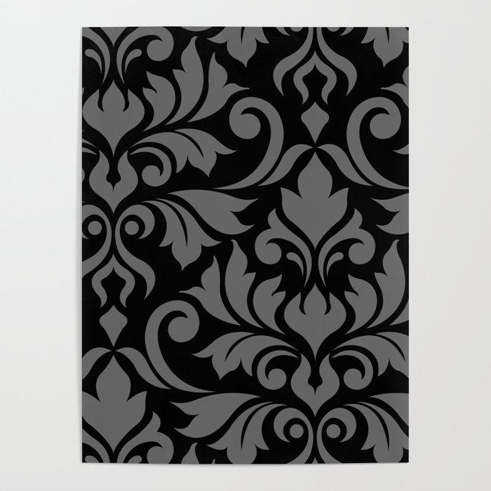Flourish Damask Art I Gray on Black Poster