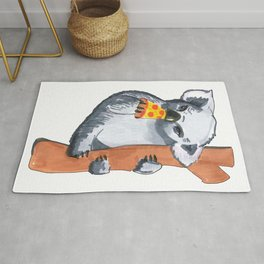 koala eating pizza Rug