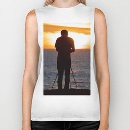 Photographer photographing the sunset over the Pacific Ocean Biker Tank