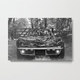 Black and White Classic Muscle Car Metal Print