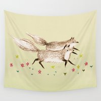 running Wall Tapestries featuring Running Foxes by Sophie Corrigan