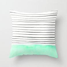 Stripes and watercolor Throw Pillow