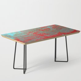 texture - aqua and red paint Coffee Table