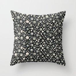 GOTH - grey bubbles on black Throw Pillow