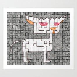 Psycho Cat Art Print