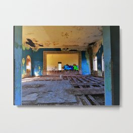 Old Place, New Mind - blue and yellow abandoned hotel photo Metal Print