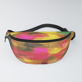 psychedelic geometric polygon shape pattern abstract in pink yellow green Fanny Pack