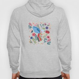Folk Art Inspired Hummingbird With A Flurry Of Flowers Hoody