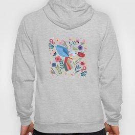 Folk Art Inspired Hummingbird With A Flurry Of Flowers Hoody